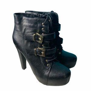 Speed Limit 98 Black Laced Heels, size 9